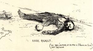 Raoul Rigault mort, dessiné par Pilotell